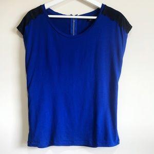 Ann Taylor Shoulder Lace Detail T-shirt Size M